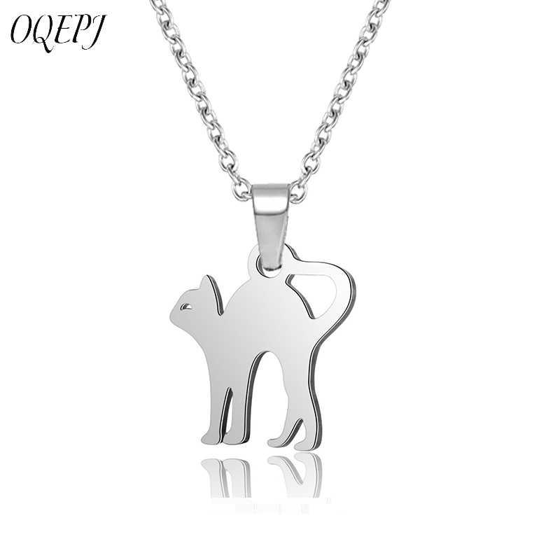 OQEPJ ตัด Cat สร้อยคอจี้สแตนเลสสตีลเงินสีเรียบออกแบบจี้สัตว์ง่ายสร้อยคอแฟชั่นผู้หญิงเครื่องประดับ