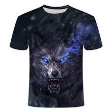 2019 New men Super Clear Wolf King T-shirt casual short sleeve o-neck fashion Funny printed 3D t shirt men/woman tees = tshirt
