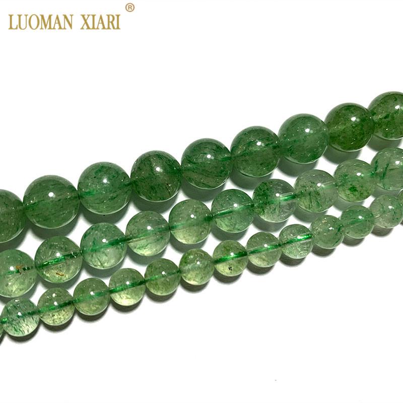Fine Aaa 100 Natural Rare Green Strawberry Crystal Round Gemstone Beads For Jewelry Making Diy Bracelet Necklace 6 8 10mm Beads Aliexpress
