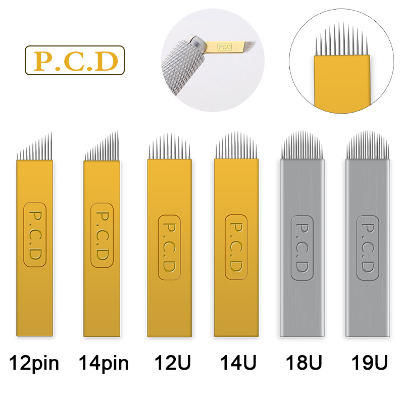 50pcs U pin PCD 12/14/19 Pins Permanent Makeup Eyebrow Tatoo Blade Microblading Needles For 3D Embroidery Manual Tattoo Pen