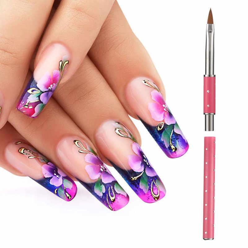 Nieuwe Diy Uv Gel Tekening Schilderij Borstel Nail Art Acryl Pen Extension Manicure Gereedschap Metalen Handvat Met Diamant Haar Potlood