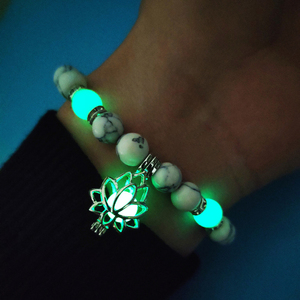Image 5 - Luminous Glowing In The Dark Moon Lotus Flower Shaped Charm Bracelet Man Women Yoga Prayer Buddhism Natural Stones Jewelry