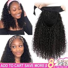 Mongolian Kinky Curly Headband Wig Human Hair Bob Wigs For Black Women On Sale 10-18Inch Kinky Curly Wig Human Hair Short Bob