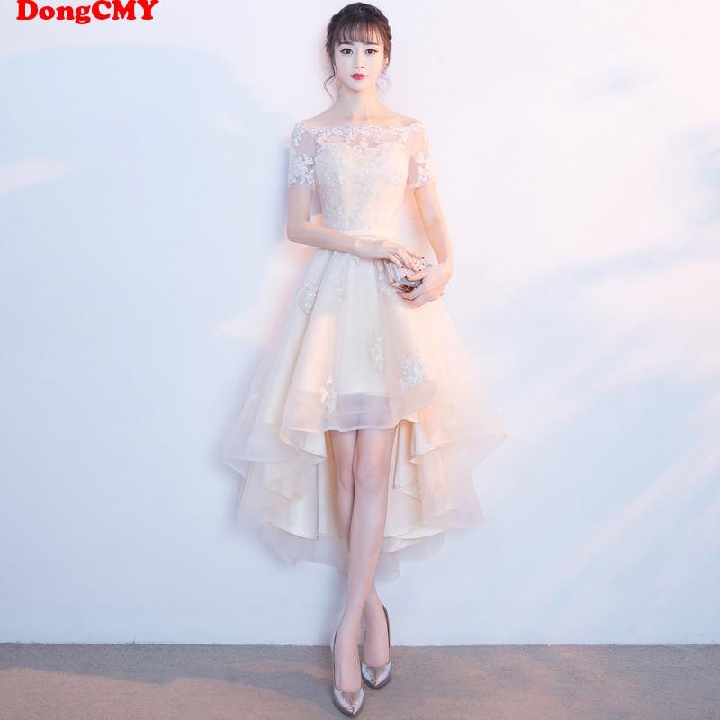 DongCMY 2019 New Beige Color Lace Bridesmaid Dresses Plus Size Vestido Prom Gown