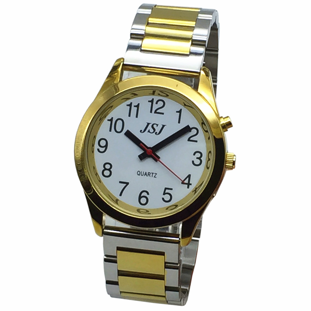 French Talking Watch With Alarm Function, Talking Date And Time, White Dial, Folding Clasp, Golden Case TAF-705