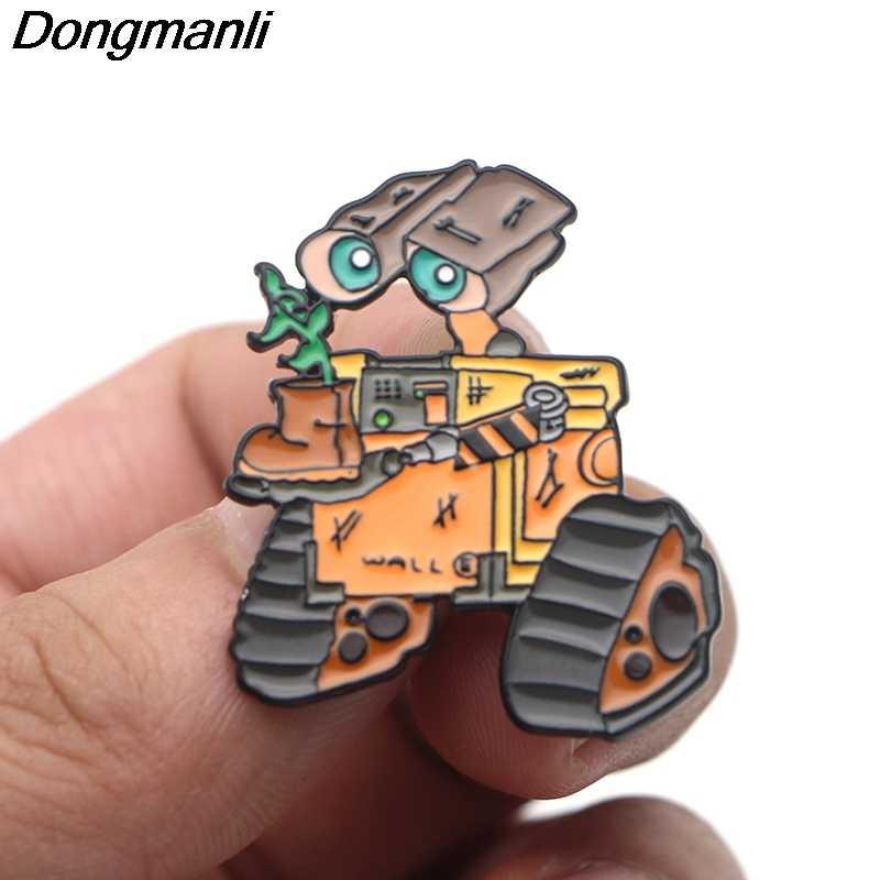 P4194 Dongmanli Robot WALL. E Ed EVA Smalto Spille Spille Del Fumetto Creativo Spilla In Metallo Spilli Distintivo zaino del sacchetto Dei Monili Del Collare