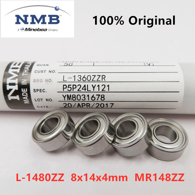 50pcs original NMB Minebea high speed bearing L-1480ZZ 8x14x4 mm <font><b>MR148ZZ</b></font> ABEC-5 miniature deep groove ball bearings <font><b>8*14*4</b></font> image