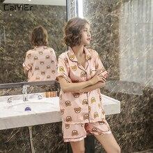 Caiyier Gấu In Pyjama Set Lụa Satin Váy Ngủ Ngắn Tay Mùa Hè Đồ Ngủ Nhân Quả Plus Kích Thước Homewear M 5XL
