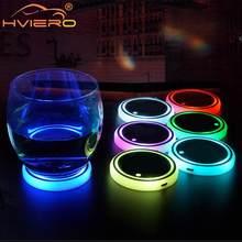1X Auto Led uchwyt na kubek samochodowy podstawka dolna lampa LED Hub pokrywa wykończenia atmosfera lampa witamy światło Anti-slipmata lampa kolorowa Coaster