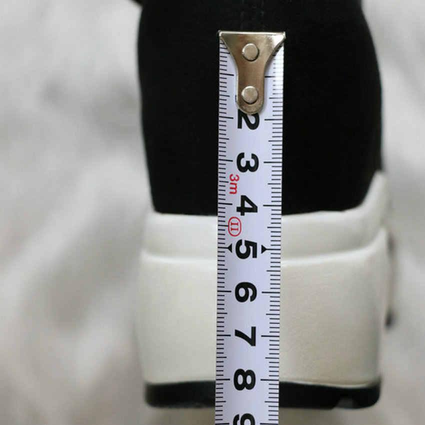 QUTAA 2020 Stretch Stoffen Over De Knie Laarzen Hoogte Toenemende Ronde Teen Vrouwen Schoenen Herfst Winter Casual Lange Laarzen Size34-43