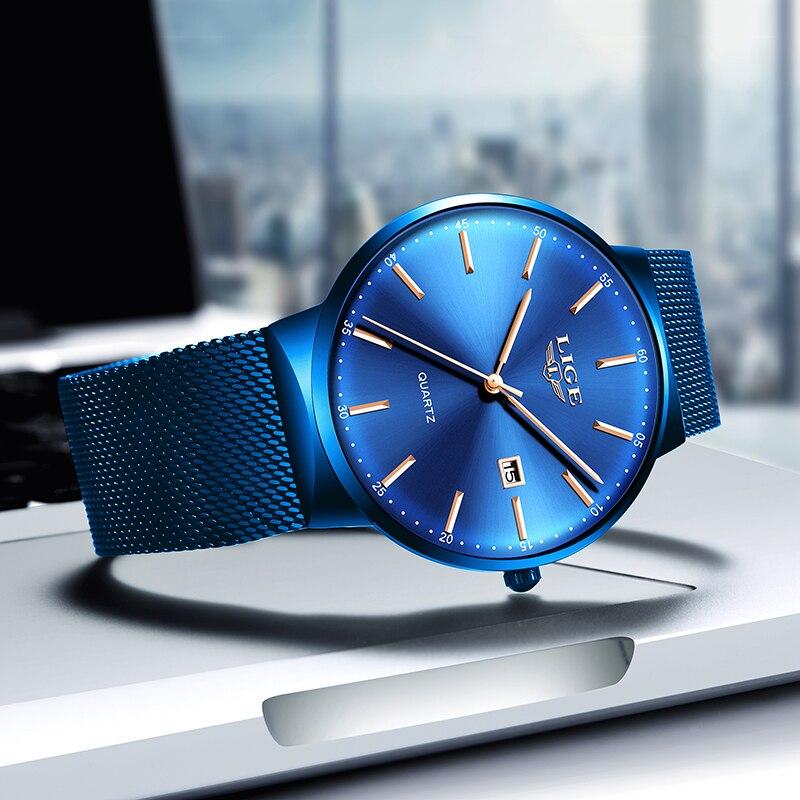 LIGE Womens Watches Top Brand luxury Analog Quartz Watch Women Full Blue Mesh Stainless Steel Date Clock Fashion Ultra-thin Dial 1