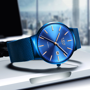 Image 2 - LIGE Womens Watches Top Brand luxury Analog Quartz Watch Women Full Blue Mesh Stainless Steel Date Clock Fashion Ultra thin Dial