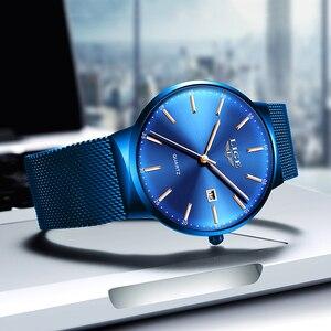 Image 2 - LIGE montre à Quartz analogique pour femmes, marque supérieure de luxe, maille bleue complète, horloge de Date, cadran Ultra mince, à la mode