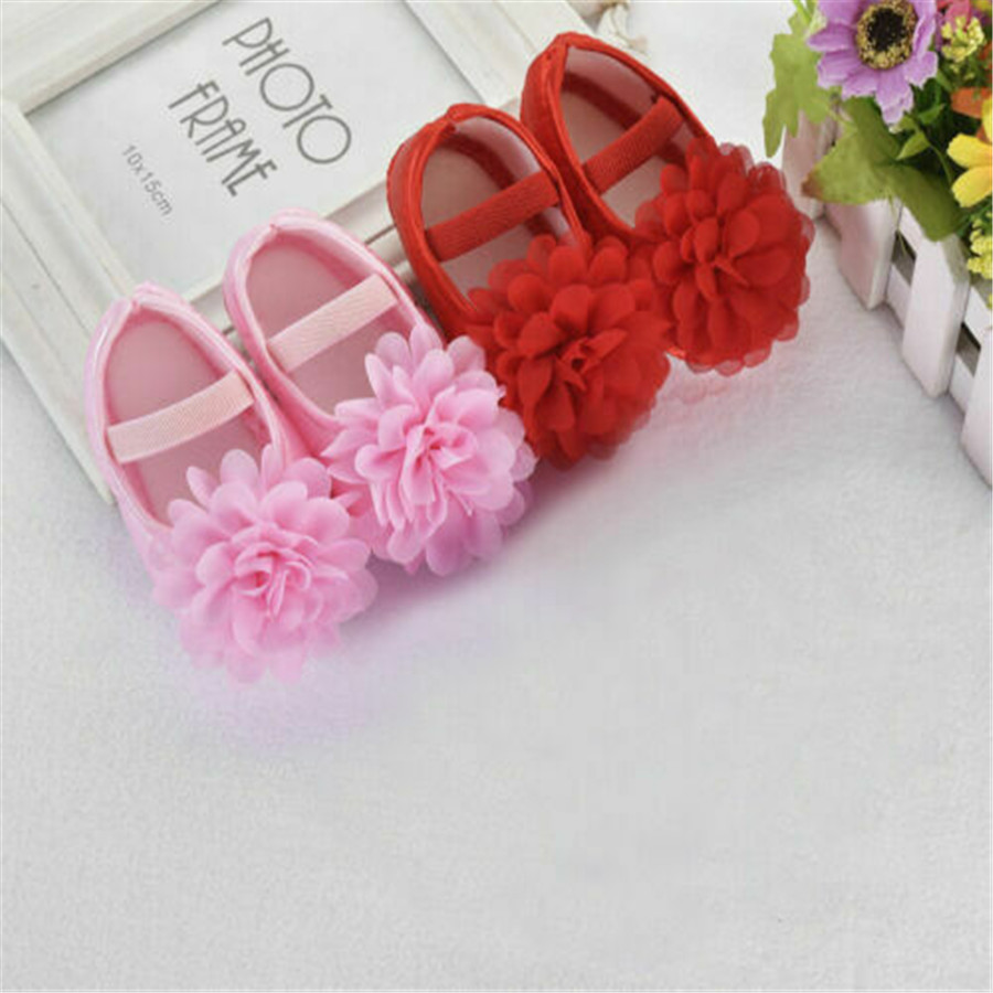 Newborn Infant Baby Girls Floral Soft Sole Crib Shoes Non-slip Sneaker Princess Shoes Prewalker First Walkers 0-18M