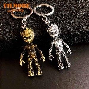 Strażnicy Galaxy rysunek drzewo człowiek zabawki breloki 3D Groot maska brelok Model statua dziecko figurka brelok biżuteria akcesoria