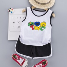 Children Set 2020 Summer Baby Boy Girls Clothes Fashion Cartoon Letter Print Vest+sweat Pants for Boys Kids Infant Girls Outfit