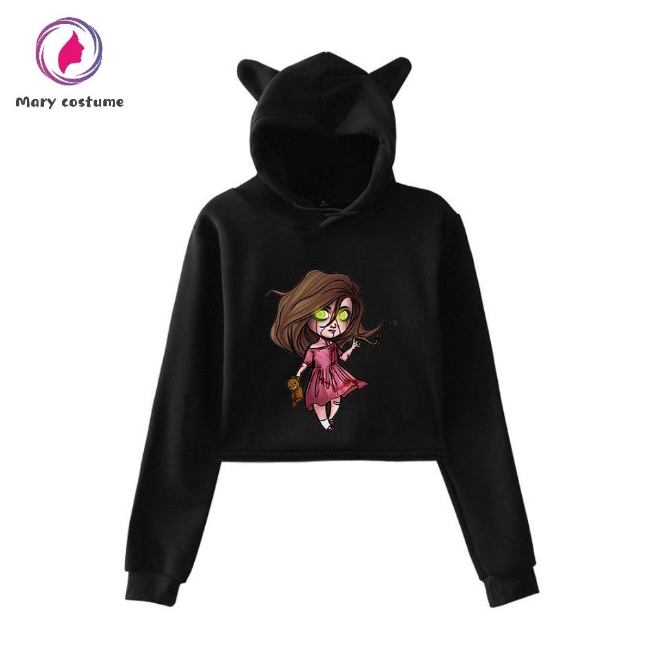 Creepypasta Style Cotton Kawaii Hoodies Women's Fashion Pullover Short Shirt 2019 Girl Street Cat Ears Sweatshirt