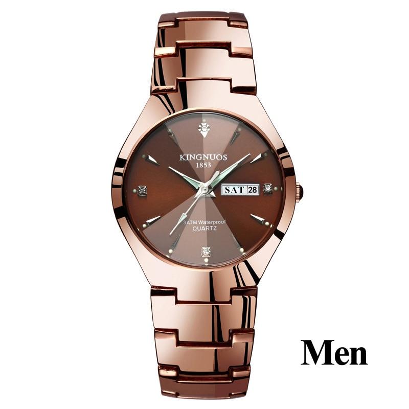 Часы для влюбленных Роскошные Кварцевые наручные часы для мужчин и женщин Hodinky Dual Calender Week steel Saat Reloj Mujer Hombre парные часы - Цвет: Men Coffee Gold