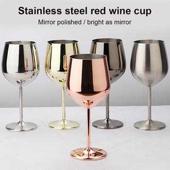 Lampka do wina ze stali nierdzewnej 500ml jednowarstwowa niezniszczalna kielich koktajlowy miedziowanie tanie i dobre opinie CN (pochodzenie) ROUND Ekologiczne Szkło