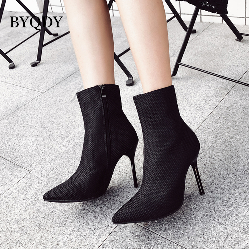 BYQDY Fashion Sock Boots Mesh Pointed Toe High Heels For Women Shoes Autumn Ankle botas mujer Solid Black