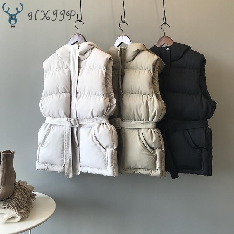 HXJJP Women Vest Winter Jacket Pocket Hooded Coat Warm Casual Cotton Padded Vest Female Slim Sleeveless Waistcoat Belt In Stock