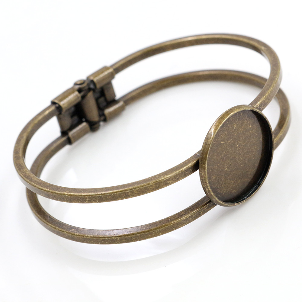 High Quality  20mm Bronze Plated Bangle Base Bracelet Blank Findings Tray Bezel Setting Cabochon Cameo (L6-19)