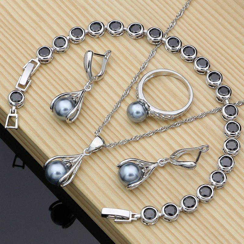 Women Valentine Gift Pearl Costume 925 Silver Jewelry Sets Charm Stone CZ Bracelet Necklaces Earrings LOVE Gift