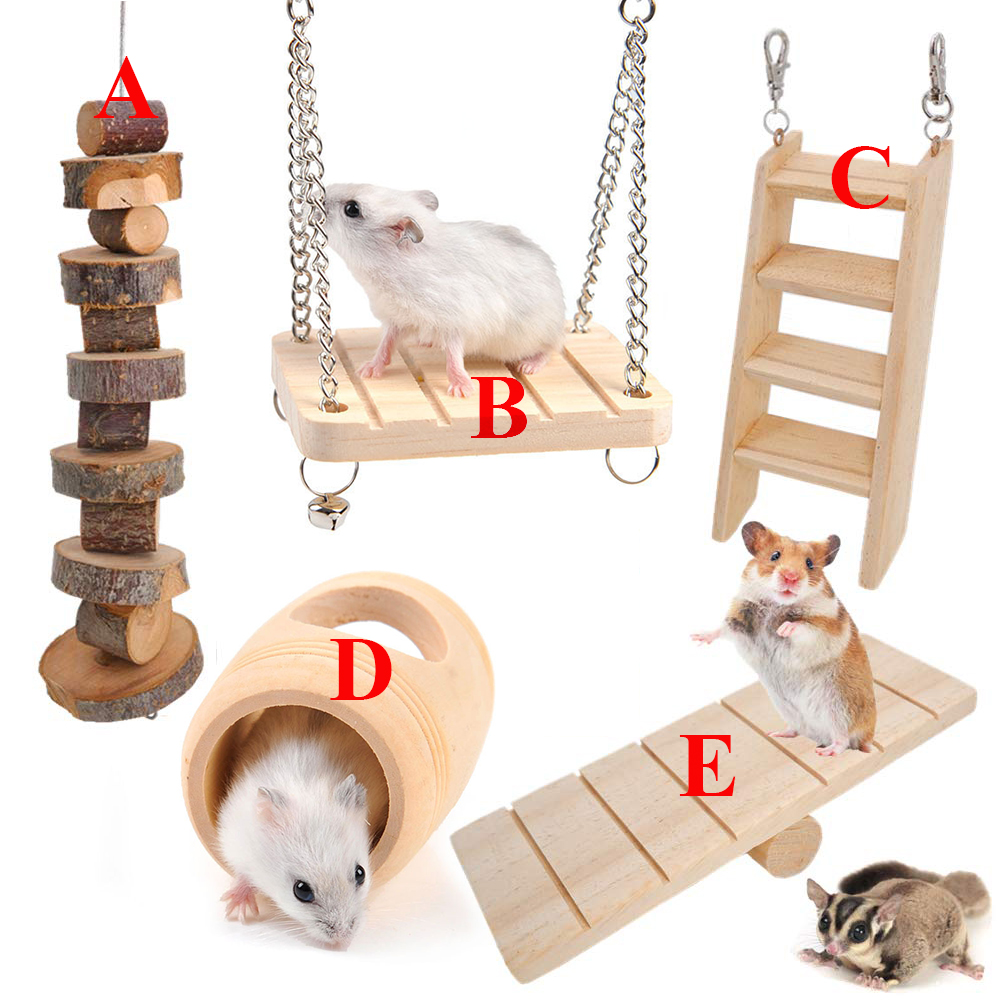 5PCS Small Animal S Chinchillas Toys Natural Wooden Climbing Playing Swing Toys For Hedgehog Rabbit Hamster Guinea PigsD30