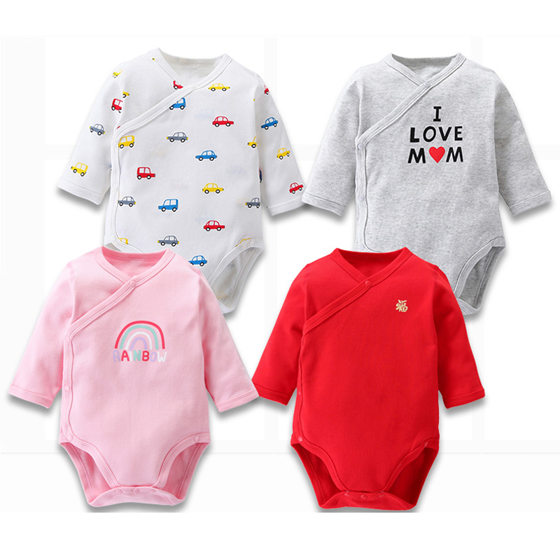 Baby Bodysuit Side Opening V Neck Clothes Children Long Sleeves Baby Pyjamas Kids Clothes 100% Cotton Baby Body Girls Clothes
