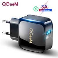 QGEEM QC 3.0 ładowarka USB szybkie ładowanie 3.0 ładowarka do telefonu dla iPhone ue wtyczką amerykańską Adapter 12V szybka ładowarka dla Huawei Samsung Xiaomi