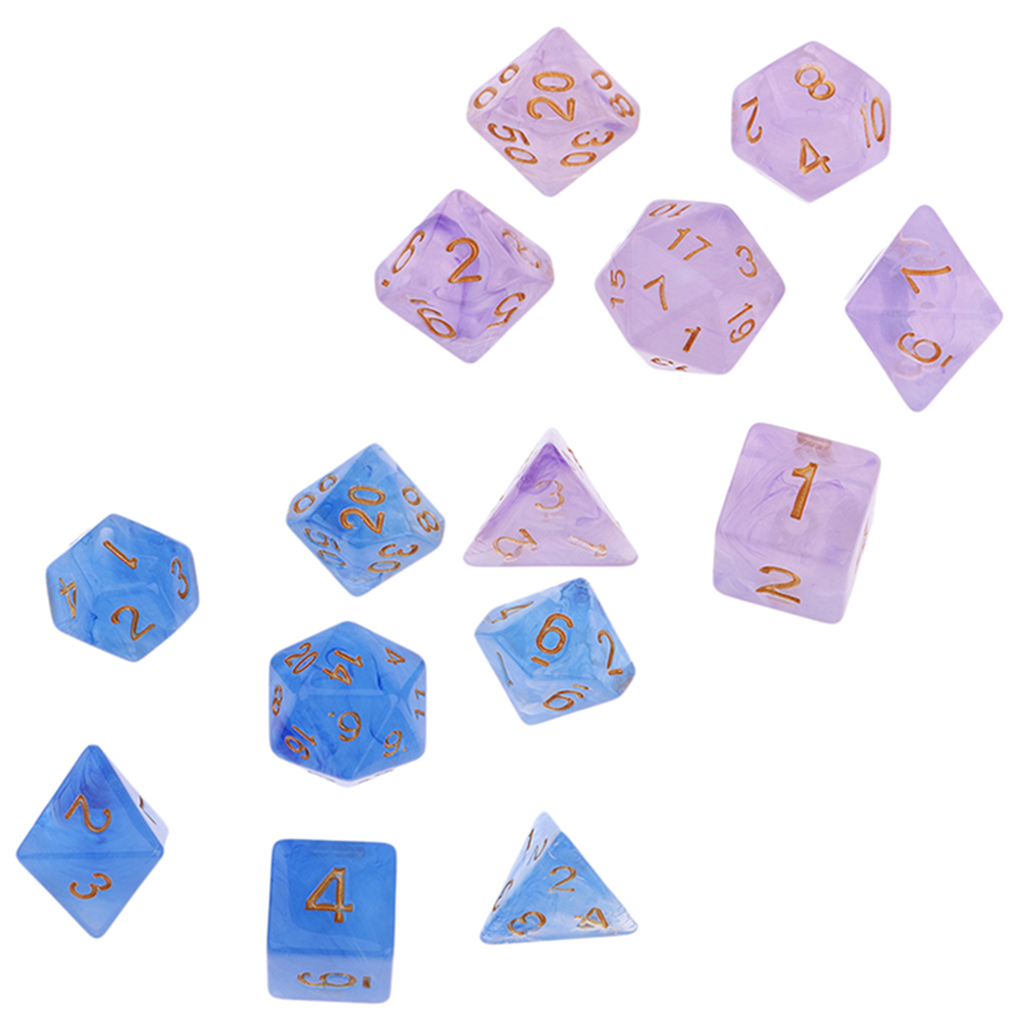 Acrylic Polyhedral Dice D4 D8 D10 D20 D6 for Dungeons & Dragons Role Play Game, PACK OF 14, Purple and Blue