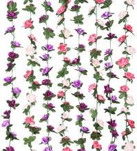 5 pacotes 2.5m flor guirlanda falso rosa videira flores artificiais pendurado rosa hera cestas arco do casamento jardim fundo decoração