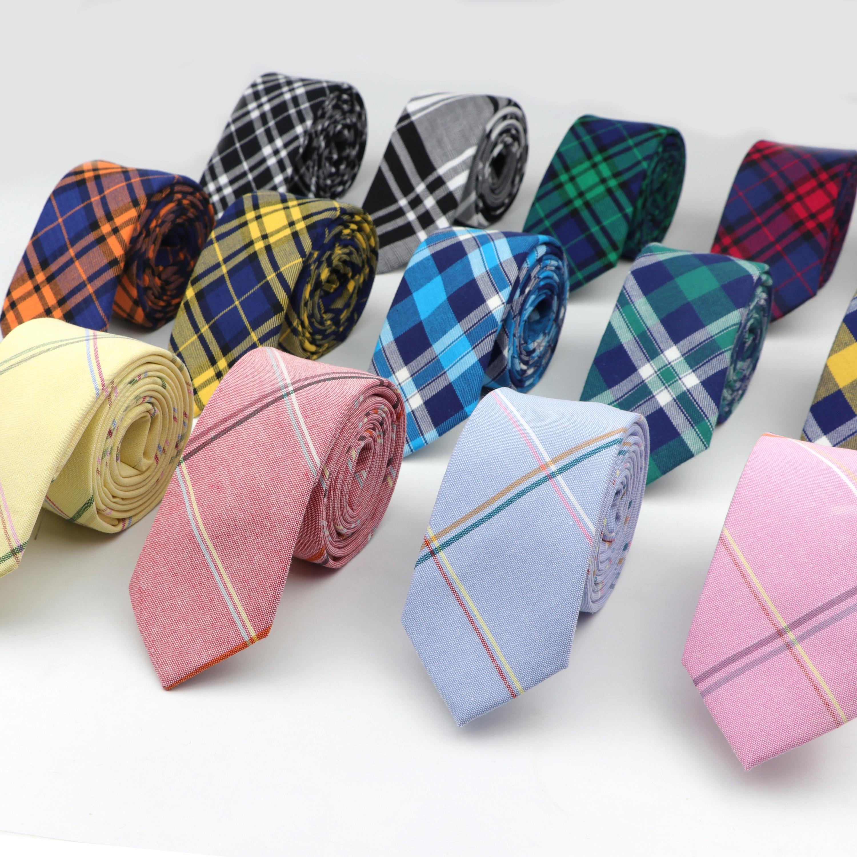 6cm Width England Striped  Plaid Soft Mens 100% Cotton Necktie Business Wedding Designer Cravat