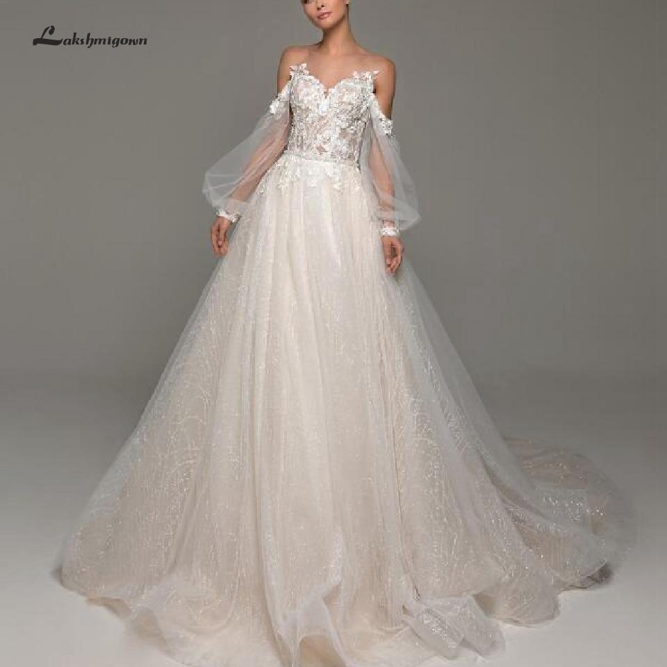 Lakshmigown Boho Wedding Dress With Sleeves 2020 New Style Vestido De Novia Sexy Sheer Illusion Bridal Wedding Gown Open-Back
