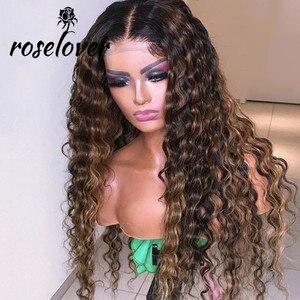 Roselover Curly Blonde Highlight ludzki włos peruka naturalny długi czarny koronkowa peruka na przód kolor Ombre 360 koronkowy Frontal ludzki włos peruka