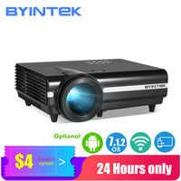 BYINTEK projecteur LED BT96plus,Smart Android Wifi pas cher Proyector,LED vidéo projecteur pour Full HD 3D 4K 300 pouces Home cinéma