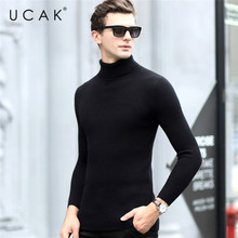 UCAK Brand Casual Sweaters Men Turtleneck Striped Streetwear New Arrival Pull Homme Warm Winter Thick Pullover Sweater Men U1021