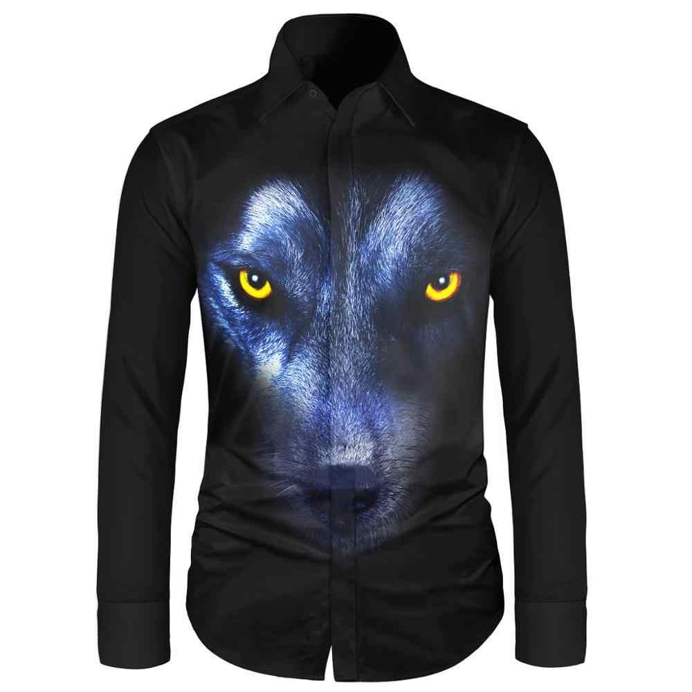 Camisetas de manga larga para hombre, con estampado de perro Lobo, estilo informal, para hombre, azul, negro, para hombre