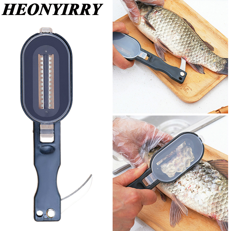 Fish Skin Brush Fast Remove Fish Scale Scraper Planer Tool Fish Scaler Fishing Knife Cleaning Tools Kitchen Cooking Accessorie|Seafood Tools|   -