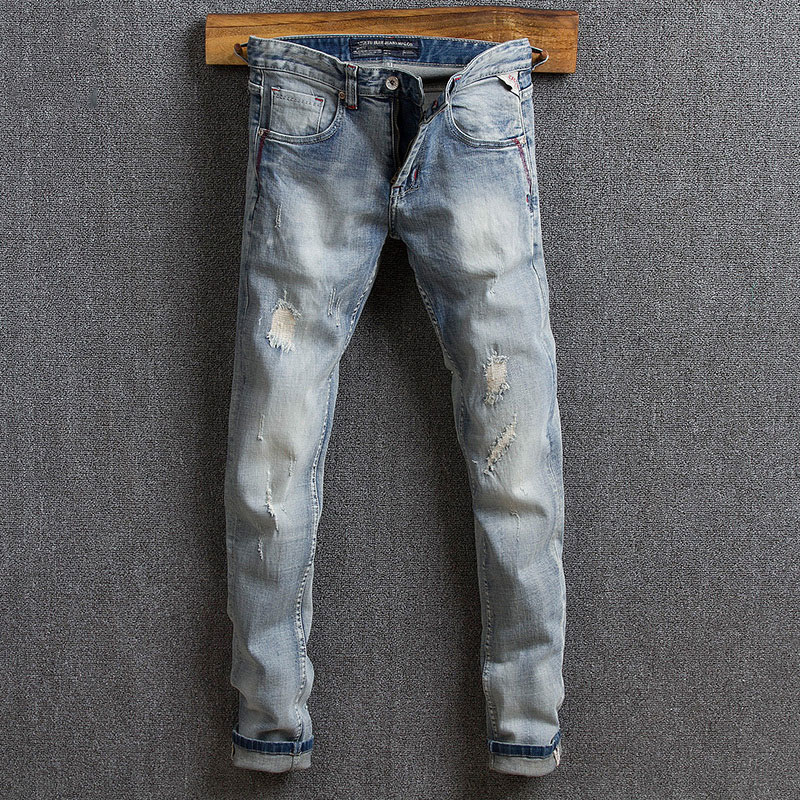 Italian Style Fashion Men Jeans Light Blue Slim Fit Vintage Designer Jeans Men High Quality Streetwear Hip Hop Ripped Jeans