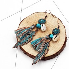 цена на Ethnic Patina Plated Green Flower Leaf Drop Dangle Earring Green Cotton Tassel Charm Earrings Women Bohemia Jewelry