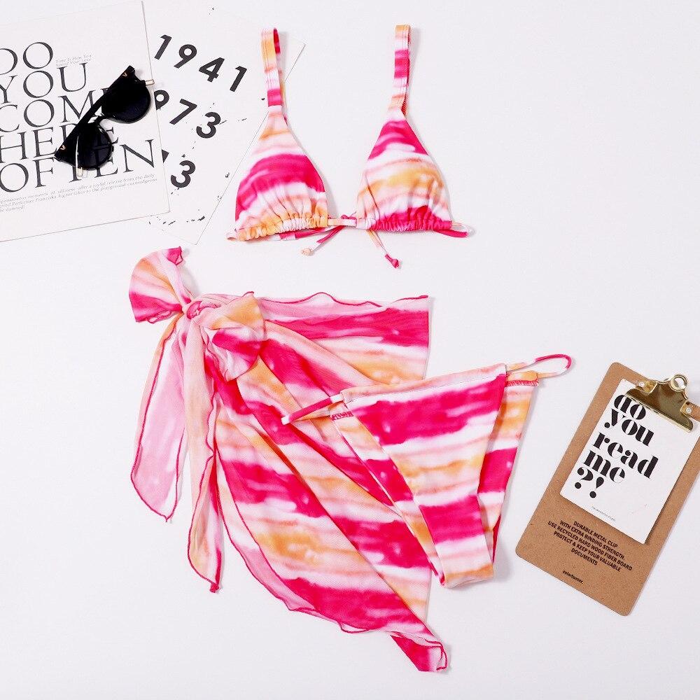 3 Piece Swimsuit with Cover Up Triangle Swimwear Women 2021 Summer Female Bathing Suit Leopard Swim Suit Woman