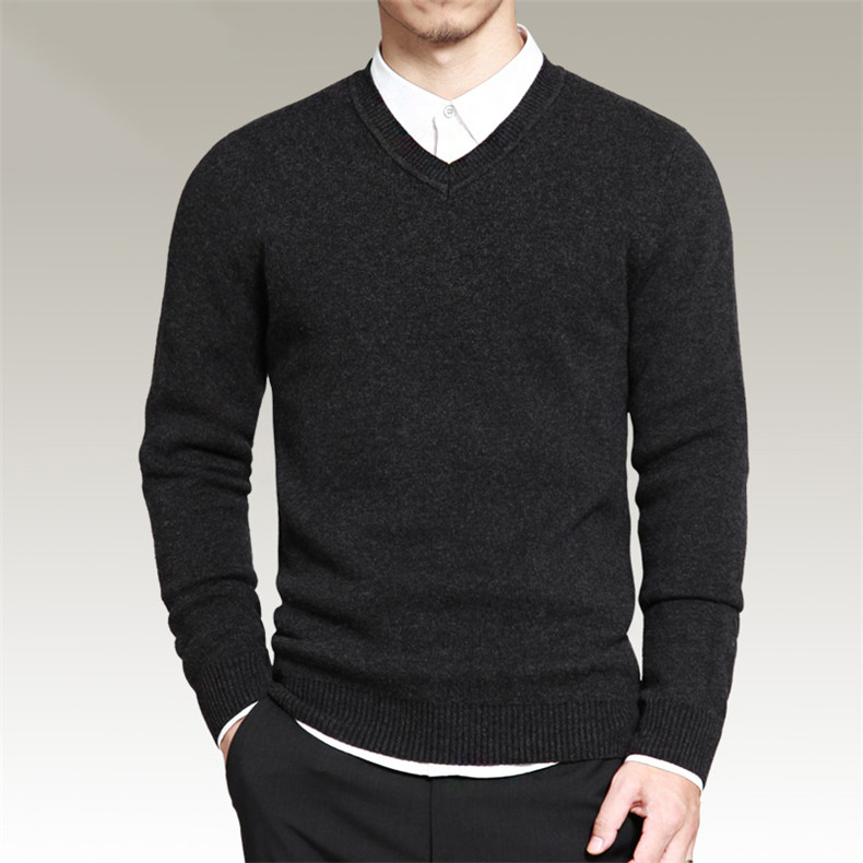 Slim Sweater Pollovers Men Casual Cotton Sweater Jumper Pullover Male Business V-Neck Knitwear Jersey Man Plus Size 4XL Black 06
