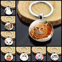 Animals-Keychain-Anime Chains Jewelry Car-Key-Rings Silver-Color Cute for Women Bag Cat
