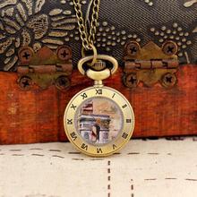 2020 New Fashion Men and Women Ancient Style Pocket Watch Quartz Bronze WatchSteampunk Antique Printing Relogio Masculino