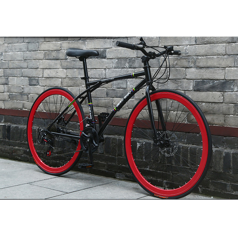 Student Road Bike 26 Inch Fixed Gear Disc Brakes Bicycle Speed Change Solid Tire Net Red Bicycle Racing Adult Men And Women
