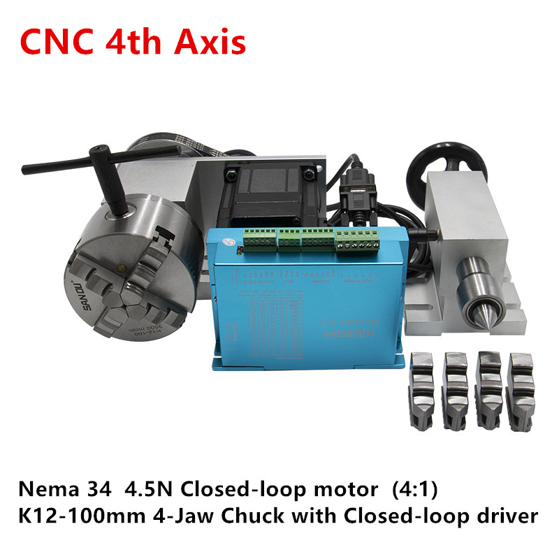 Nema 34 4.5N Close Loop Motor (4:1) K12-100mm 4 Jaw Chuck 100mm CNC 4th Axis A Aixs Rotary Axis + Mt2 Tailstock For Cnc Router