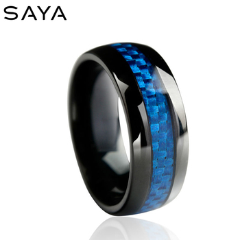 Men Black Plated Tungsten Carbide Engagement Ring Wedding Band Blue Carbon Fiber Inlay Vintage Style, Free Shipping, Customized