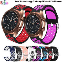 BEHAU-Correa de silicona para reloj inteligente Samsung Galaxy Watch 3, repuesto de correa de doble color de 20mm, 41mm