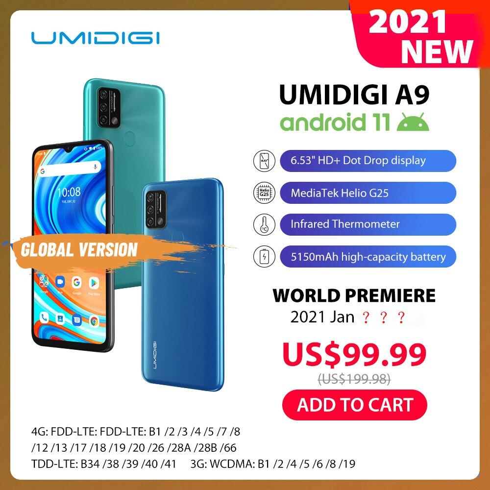 Umidigi-teléfono inteligente A9, teléfono móvil Android 11, versión Global, Triple Cámara ia de 13,0mp, 3GB RAM, 64GB rom, procesador Helio G25, Octa Core, pantalla HD de 6,53 pulgadas, batería de 5150mAh